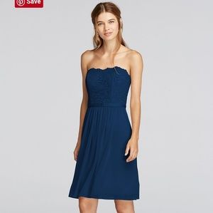 Size 12. Marine blue, knee length,strapless
